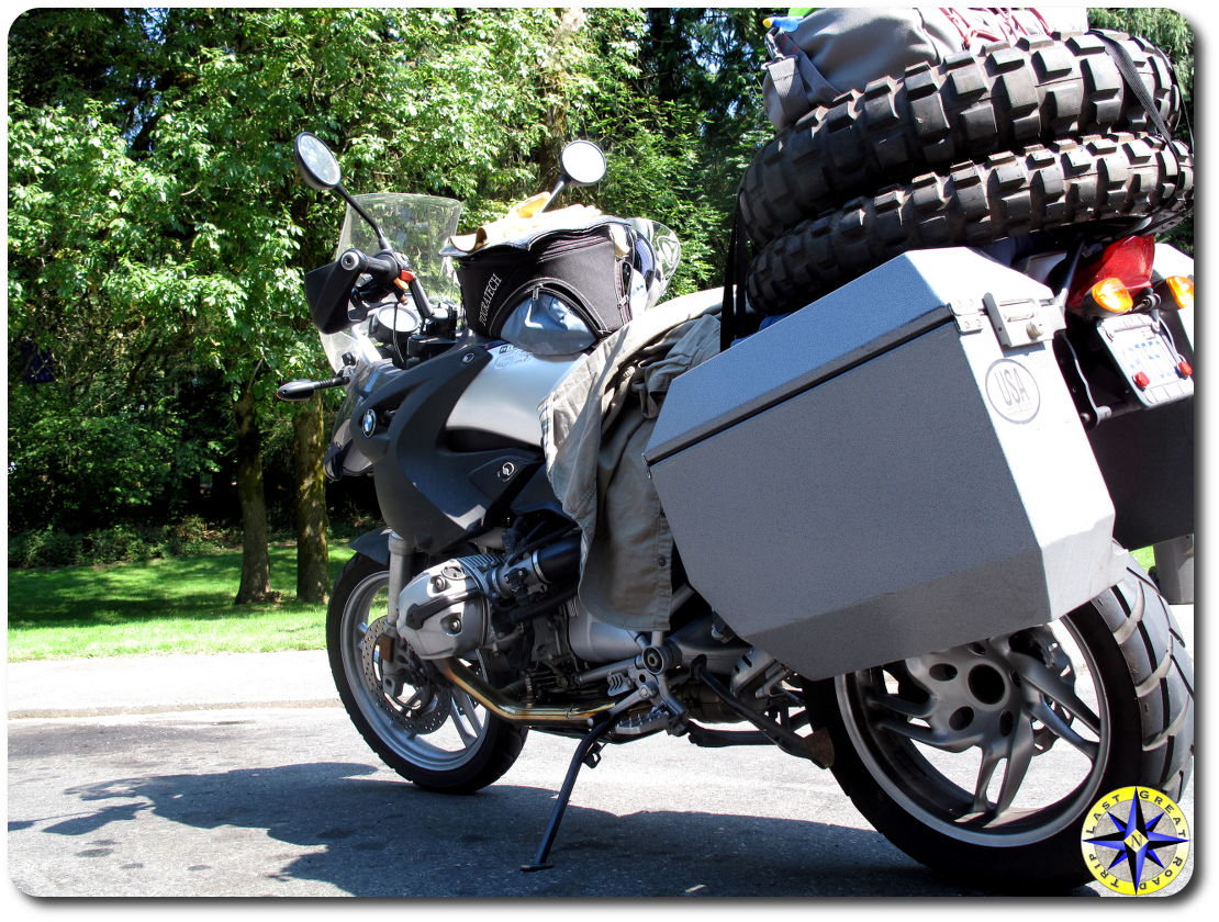 loaded dual sport motorcycle