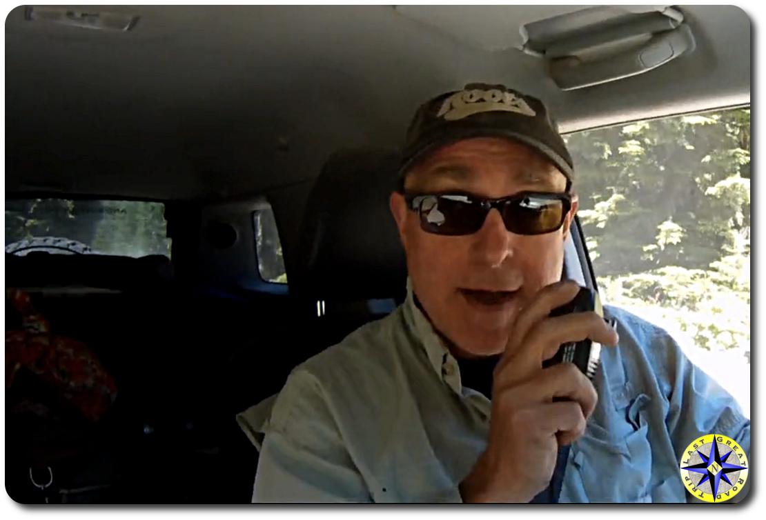 man talking on CB radio