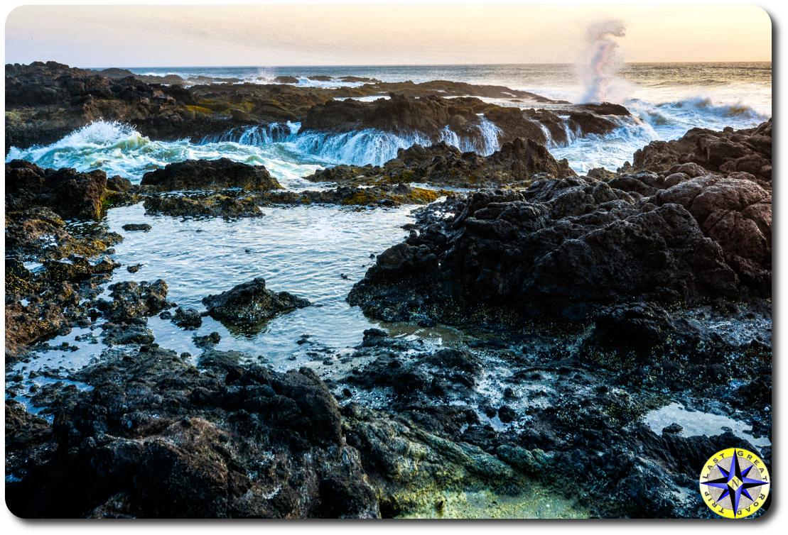 tide pool rocks at sunset