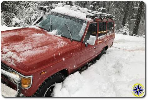 Toyota BJ60 big red stuck in snow